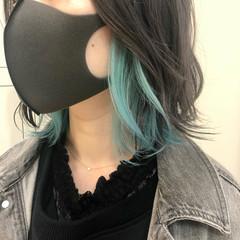 ガーリー ターコイズブルー ブリーチカラー ミディアム ヘアスタイルや髪型の写真・画像
