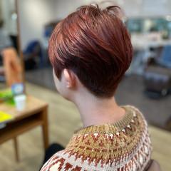 ショート レッドブラウン メンズマッシュ ナチュラル ヘアスタイルや髪型の写真・画像
