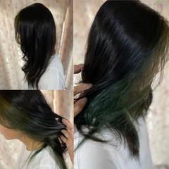 インナーカラー セミロング ガーリー インナーグリーン ヘアスタイルや髪型の写真・画像