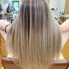 外国人風カラー バレイヤージュ フェミニン グラデーションカラー ヘアスタイルや髪型の写真・画像