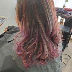 エレガント ピンクバイオレット バレイヤージュ デジタルパーマ ヘアスタイルや髪型の写真・画像