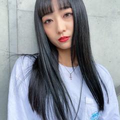 ロング シースルーバング 韓国風ヘアー 韓国ヘア ヘアスタイルや髪型の写真・画像