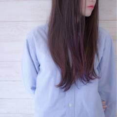 ナチュラル ロング グラデーションカラー レッド ヘアスタイルや髪型の写真・画像