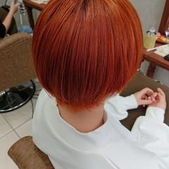 ショートヘア オレンジカラー ショート ショートボブ ヘアスタイルや髪型の写真・画像