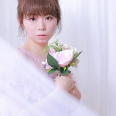 ミディアム お団子アレンジ フェミニン 撮影 ヘアスタイルや髪型の写真・画像