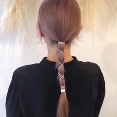 デート 紐アレンジ ナチュラル ブリーチカラー ヘアスタイルや髪型の写真・画像