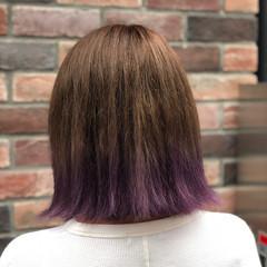 ダブルカラー ストリート ボブ パープル ヘアスタイルや髪型の写真・画像