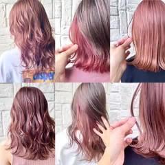 ピンク 外ハネ 切りっぱなしボブ フェミニン ヘアスタイルや髪型の写真・画像