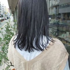 ナチュラル 韓国ヘア 切りっぱなしボブ ミディアム ヘアスタイルや髪型の写真・画像