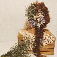 フェミニン ヘアアレンジ 結婚式 セミロング ヘアスタイルや髪型の写真・画像