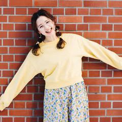 フェミニン セミロング ツインテール ヘアアレンジ ヘアスタイルや髪型の写真・画像