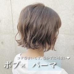 ミニボブ モテボブ ナチュラル パーマ ヘアスタイルや髪型の写真・画像