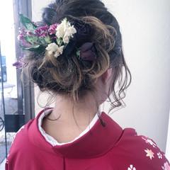 セミロング ドライフラワー 結婚式 ナチュラル ヘアスタイルや髪型の写真・画像