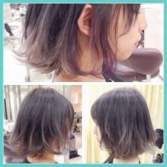 インナーカラー ストリート グラデーションカラー ボブ ヘアスタイルや髪型の写真・画像