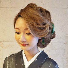 モード ロング 着物 和髪 ヘアスタイルや髪型の写真・画像