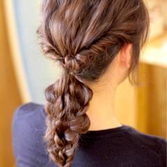 ヘアアレンジ 三つ編み ストリート 波ウェーブ ヘアスタイルや髪型の写真・画像