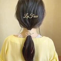 ロング フェミニン 紐アレンジ 結婚式 ヘアスタイルや髪型の写真・画像