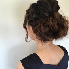 セミロング ヘアアレンジ フェミニン 簡単ヘアアレンジ ヘアスタイルや髪型の写真・画像