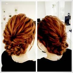 ヘアアレンジ 波ウェーブ 結婚式 ミディアム ヘアスタイルや髪型の写真・画像