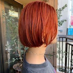 オレンジ ミニボブ ボブ ナチュラル ヘアスタイルや髪型の写真・画像