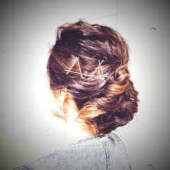 簡単ヘアアレンジ グラデーションカラー ショート ミディアム ヘアスタイルや髪型の写真・画像