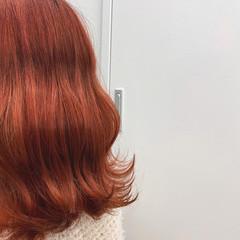 オレンジカラー モテ髪 切りっぱなしボブ ロング ヘアスタイルや髪型の写真・画像