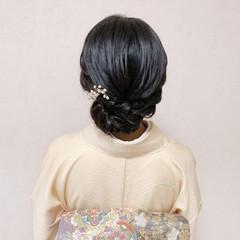結婚式ヘアアレンジ ミディアム エレガント 訪問着 ヘアスタイルや髪型の写真・画像
