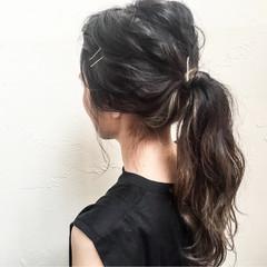 外国人風 暗髪 簡単ヘアアレンジ セミロング ヘアスタイルや髪型の写真・画像