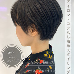 グレージュ 簡単スタイリング ショート ショートヘア ヘアスタイルや髪型の写真・画像