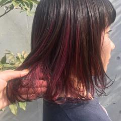 ピンク ダブルカラー ミディアム ガーリー ヘアスタイルや髪型の写真・画像
