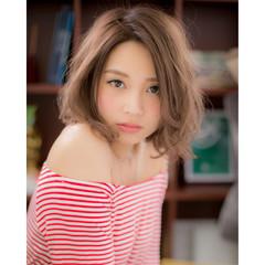 ミディアム コンサバ 黒髪 アッシュ ヘアスタイルや髪型の写真・画像