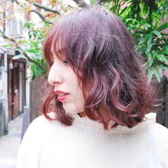 ラベンダーピンク 透明感 ピンク ナチュラル ヘアスタイルや髪型の写真・画像