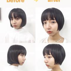 ショートボブ ナチュラル モード ショート ヘアスタイルや髪型の写真・画像
