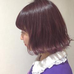 ラベンダーピンク ガーリー ボブ 切りっぱなし ヘアスタイルや髪型の写真・画像