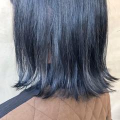 イルミナカラー コリアンネイビー ブリーチ ナチュラル ヘアスタイルや髪型の写真・画像