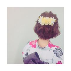 お祭り 花火大会 ハーフアップ ボブ ヘアスタイルや髪型の写真・画像