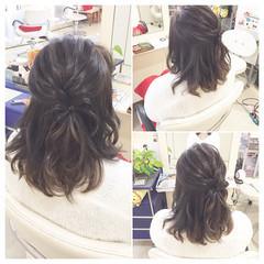 ハーフアップ アッシュ ガーリー セミロング ヘアスタイルや髪型の写真・画像