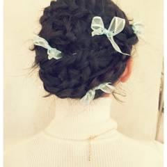 コンサバ ヘアアレンジ モテ髪 編み込み ヘアスタイルや髪型の写真・画像
