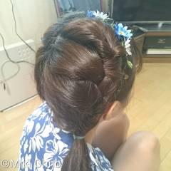 ヘアアレンジ セミロング かわいい ガーリー ヘアスタイルや髪型の写真・画像