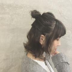 ボブ くせ毛風 ストリート お団子 ヘアスタイルや髪型の写真・画像