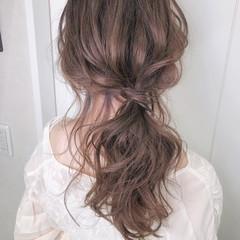 ナチュラル 浴衣アレンジ 浴衣ヘア ピンクアッシュ ヘアスタイルや髪型の写真・画像