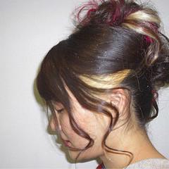 ヘアアレンジ セミロング インナーカラー ヘアスタイルや髪型の写真・画像