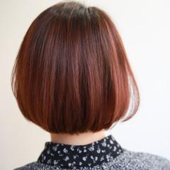 切りっぱなしボブ ボブ アプリコットオレンジ オレンジカラー ヘアスタイルや髪型の写真・画像