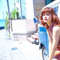 春 フェミニン ミディアム 外国人風 ヘアスタイルや髪型の写真・画像