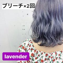 セミディ ラベンダーアッシュ ラベンダーグレー ラベンダーグレージュ ヘアスタイルや髪型の写真・画像