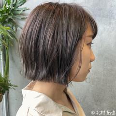 ボブ ミニボブ 透明感カラー 極細ハイライト ヘアスタイルや髪型の写真・画像