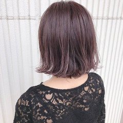 ピンクアッシュ ナチュラル ダブルカラー ショートボブ ヘアスタイルや髪型の写真・画像