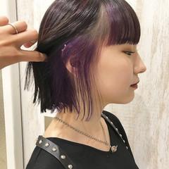 バイオレット #インナーカラー バイオレットカラー インナーカラーパープル ヘアスタイルや髪型の写真・画像