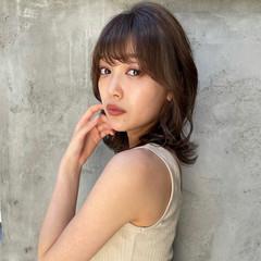 韓国ヘア 秋ブラウン ミディアム ナチュラル ヘアスタイルや髪型の写真・画像
