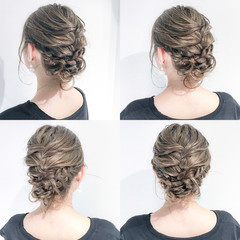 フェミニン ブライダル 結婚式 セミロング ヘアスタイルや髪型の写真・画像